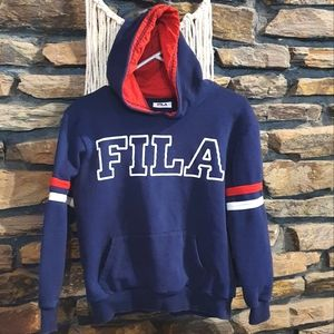 Size 12 FILA hooded blue, red and white jumper